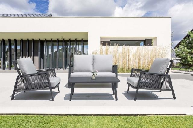 product Nuu Garden Sicily 4-Piece Aluminum Strap Sofa Set
