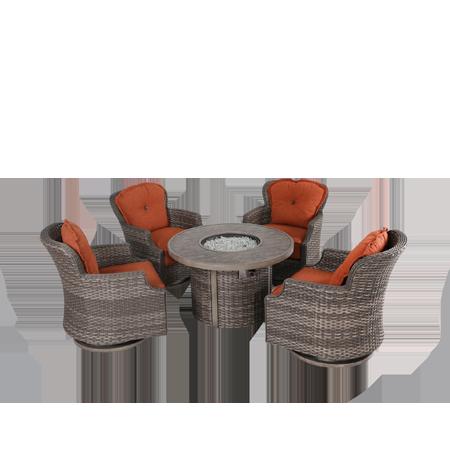 Nuu Garden Tenaya 5 piece wicker fire pit sofa set