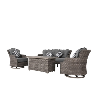 Nuu Garden 4-piece Wicker Fire Pit Sofa Set