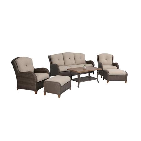 Nuu Garden Cleveland 6-piece Wicker Sofa Set