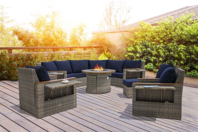 Nuu Garden Livermore 7-piece Wicker Sofa Set